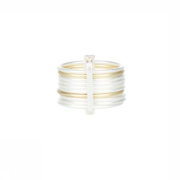 Yaya Diverse Ring With Fine Bar Zilver