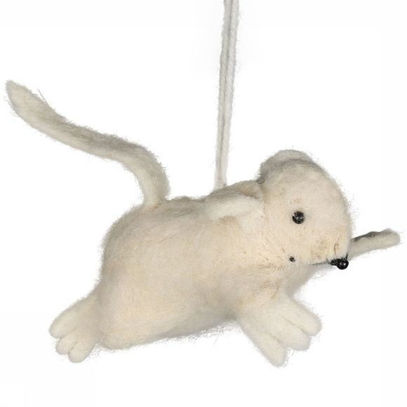Yaya Home Accessoire Hanging Woolen Mouse Small Wit