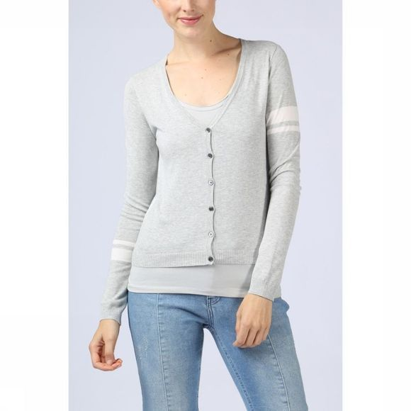 Yaya Cardigan Basic W. Contrast Stripes At Sleeves Lichtgrijs Mengeling