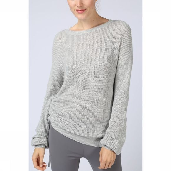 Trui Roundneck W. Puffsleeves & Strap At Sideseam