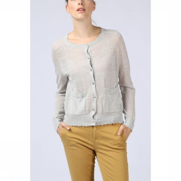 Yaya Cardigan Open W. Raw Edges Lichtgrijs Mengeling
