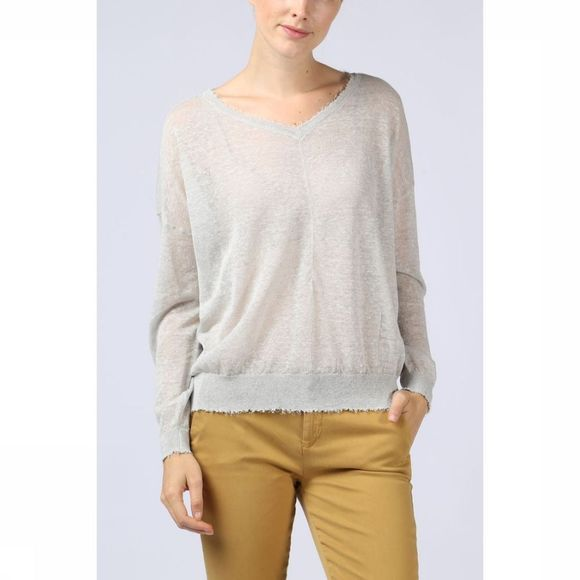 Trui Open Vneck W. Raw Edges