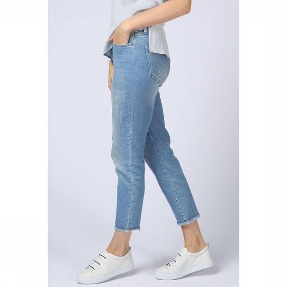 Yaya Jeans Tapered Jogg Denim W. Uneven Hem Lichtblauw