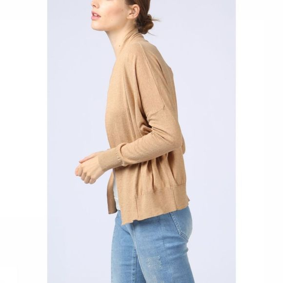 Yaya Cardigan Basic Zandbruin