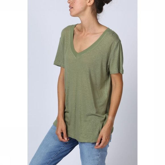 T-Shirt Linen Ss With V-Neck