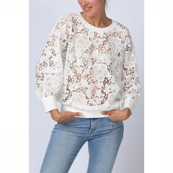 Yaya Blouse Woven Cropped Lace Gebroken Wit