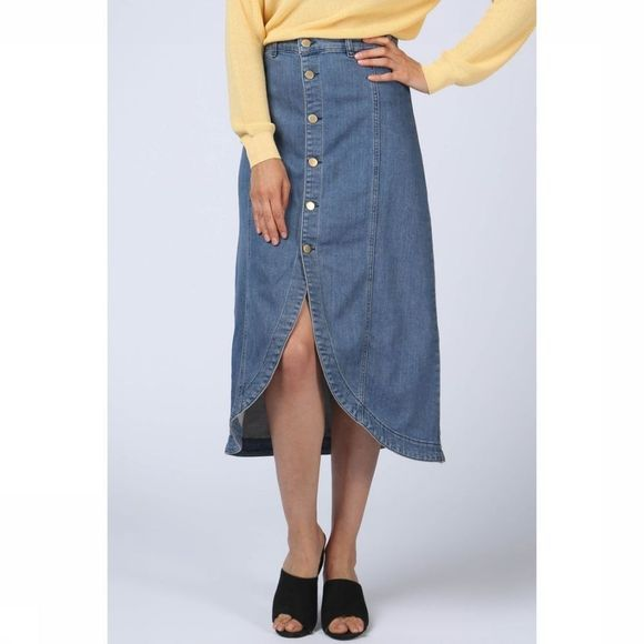 Yaya Rok Fancy Denim Middenblauw