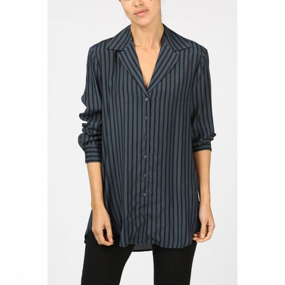 Yaya Hemd Shine Stripes Middenblauw/Zwart