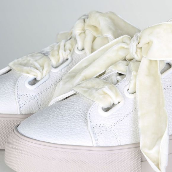 Yaya Sneaker Leather With Velvet Lace Gebroken Wit