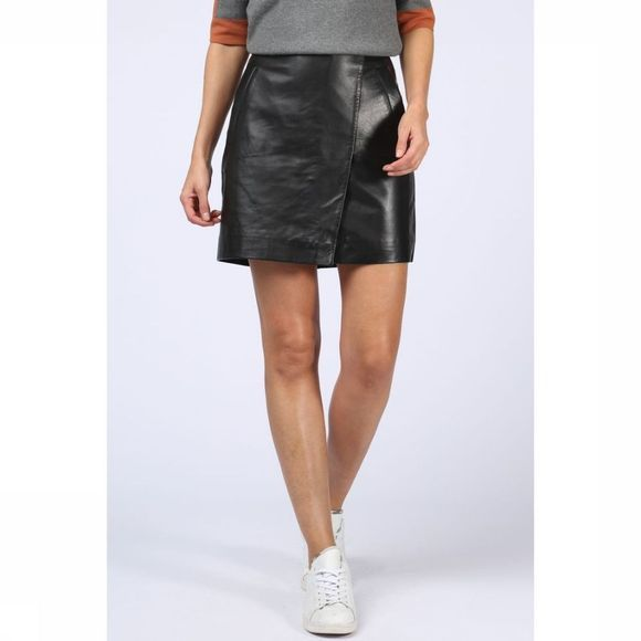 Yaya Rok Genuine Leather Wrap Zwart
