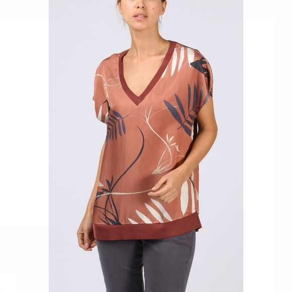 Yaya Blouse Woven Rib Neck Bird Print Roest/Assortiment Bloem