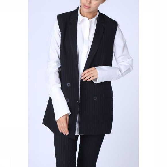 Blazer Sleevless Double Breasted Long Gilet