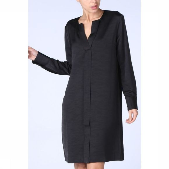 Jurk Woven V Neck Placket