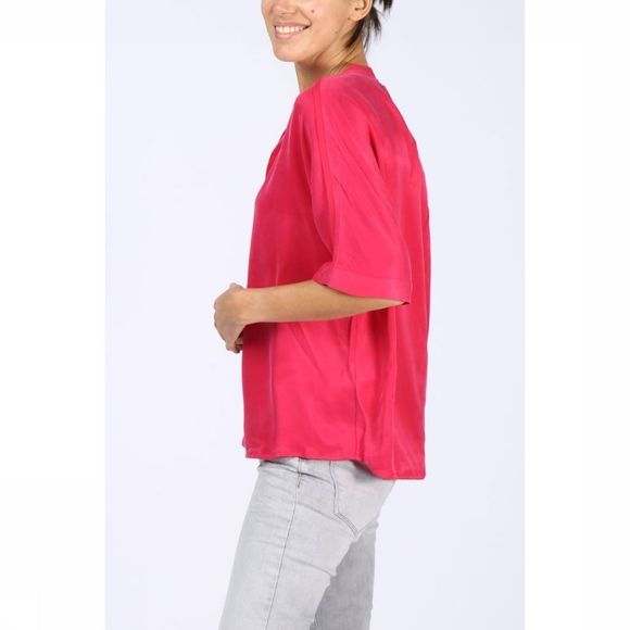 Yaya Blouse Woven Cupro Fabric Mix Fuchsia