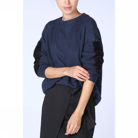 Yaya Trui With Fur Detail On Sleeve Donkerblauw