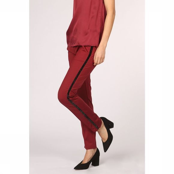 Yaya Broek Sporty Pants With Glitter Insert And Zipper At The Bottom Bordeaux