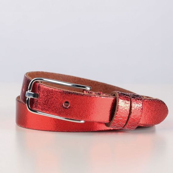 Yaya Riem Metallic Leather Middenrood