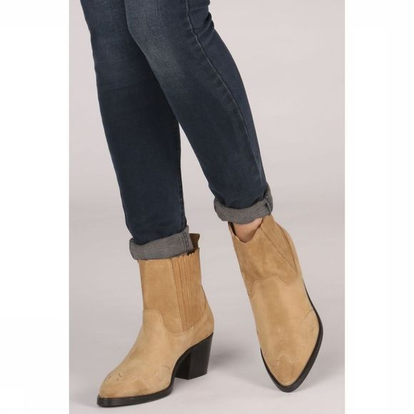 Yaya Bottine Ankle Cowboy Suede Zandbruin