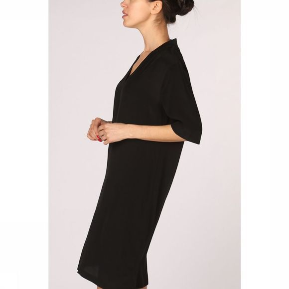 Yaya Jurk Woven Dress Collar Zwart