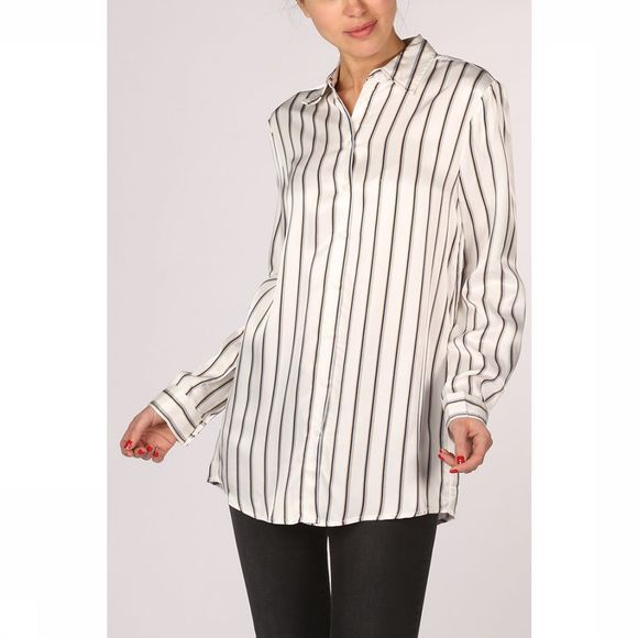 Yaya Hemd Long Blouse Striped Wit/Middenblauw