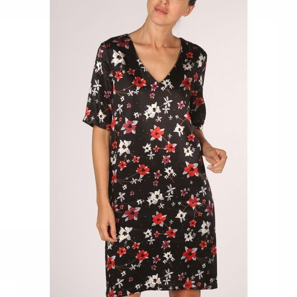 Yaya Jurk Straight Dress Flower Print Zwart/Assortiment Bloem