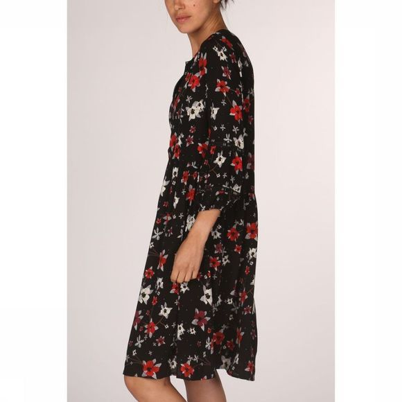 Yaya Jurk Dress Tapes Flower Print Zwart/Assortiment Bloem