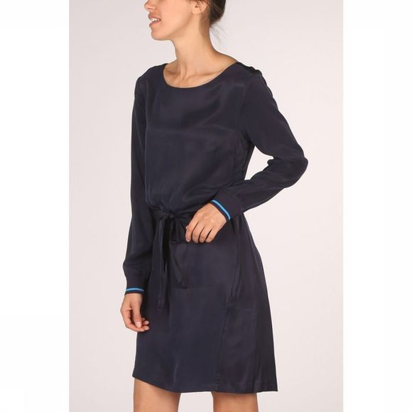 Yaya Jurk Dress Colorblock Fabric Mix Donkerblauw