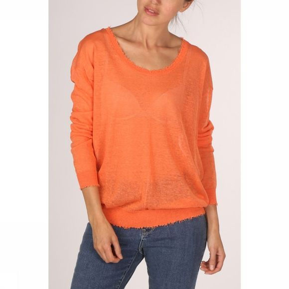Yaya Trui Wide Neck Linen With Raw Edges Oranje