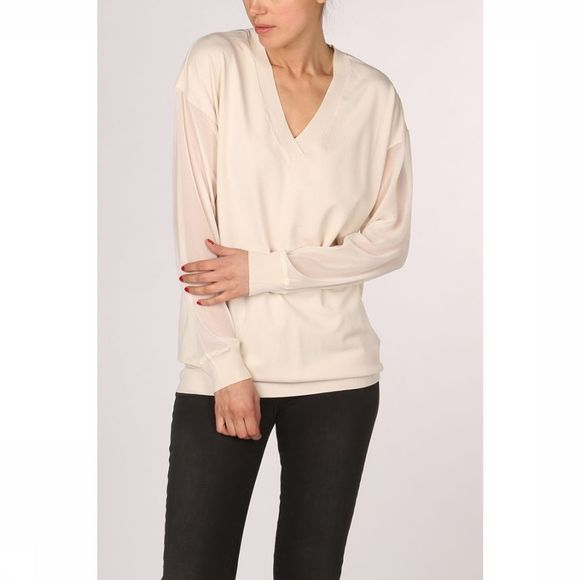 Yaya Trui With Deep Vneck And Woven Sleeves Gebroken Wit