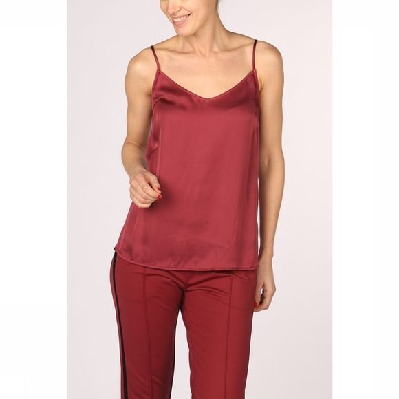Yaya Blouse Strappy Shine Fabric Mix Bordeaux