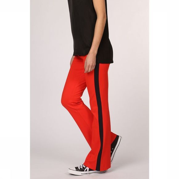Yaya Broek Jersey Flared Trousers With Sideseam Tape Middenrood