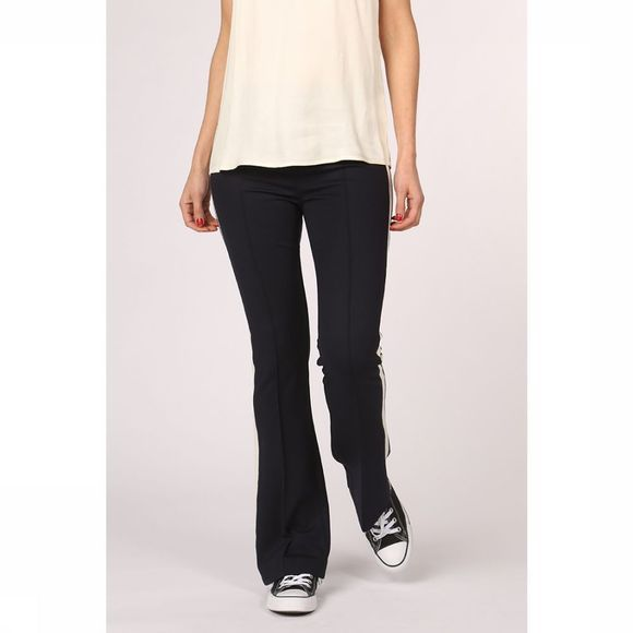 Yaya Broek Jersey Flared Trousers With Sideseam Tape Donkerblauw