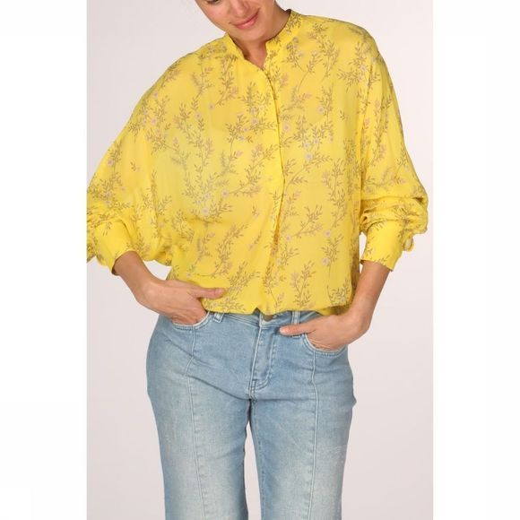Yaya Blouse Blouse With Flower Print Middengeel/Assortiment Bloem