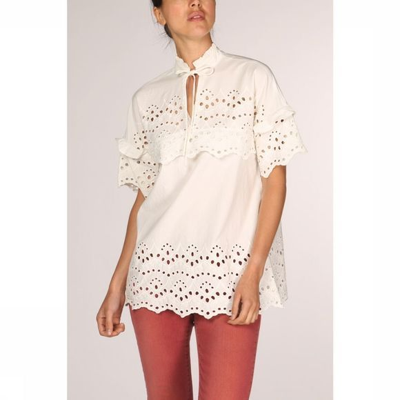 Yaya Blouse Woven Top Embroidery Anglaise Gebroken Wit