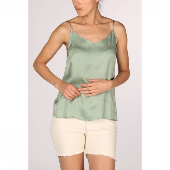 Yaya Blouse Strappy Shine Fabric Mix Lichtgroen