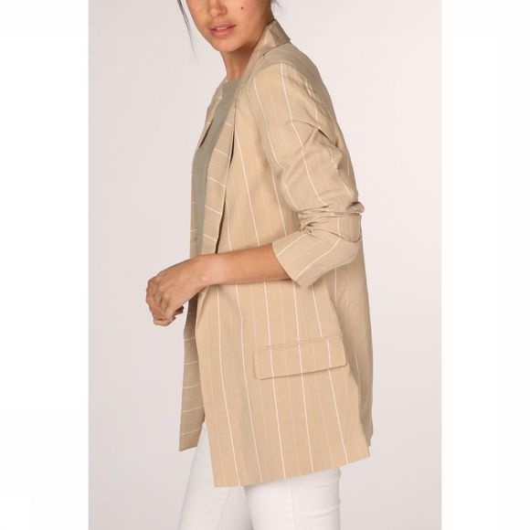 Yaya Blazer Striped Loose Fit Zandbruin