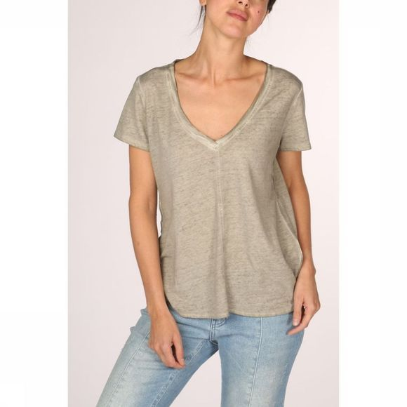 Yaya T-Shirt Jersey V-Neck Oil Dye Middenkaki