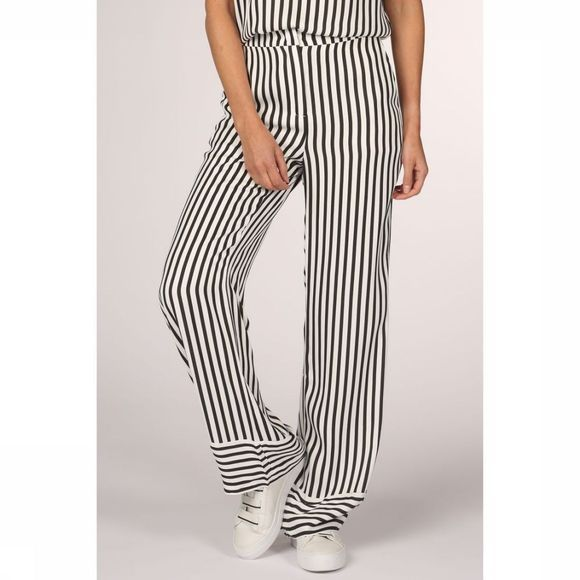 Yaya Trousers Striped High Waist Loose Fit off white/black