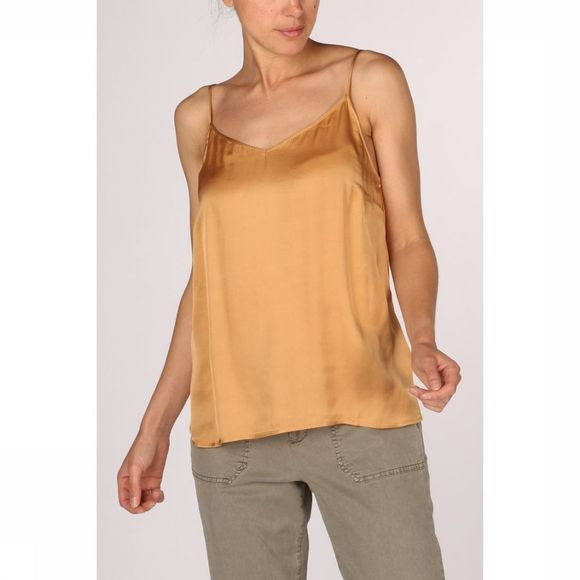 Yaya Shirt Strappy Shine Fabric Mix rust