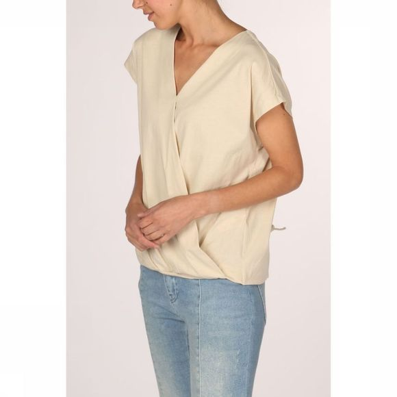 Yaya T-Shirt Jersey Ls Top W. Knot At Back Ecru