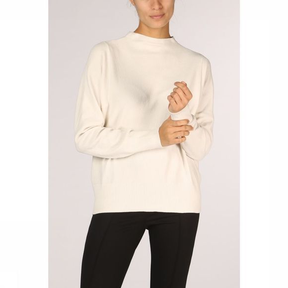 Yaya Trui Soft Knit Mock Neck Gebroken Wit