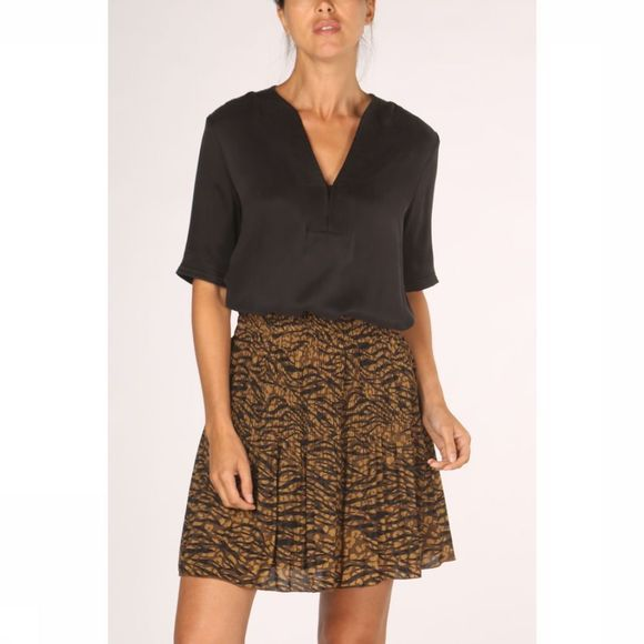 Yaya Blouse Woven Quilted Zwart