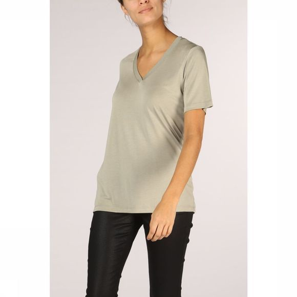 Yaya T-Shirt W. Fancy Neck Lichtkaki