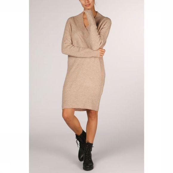 Yaya Jurk Rib Knit With V-Neck Ecru