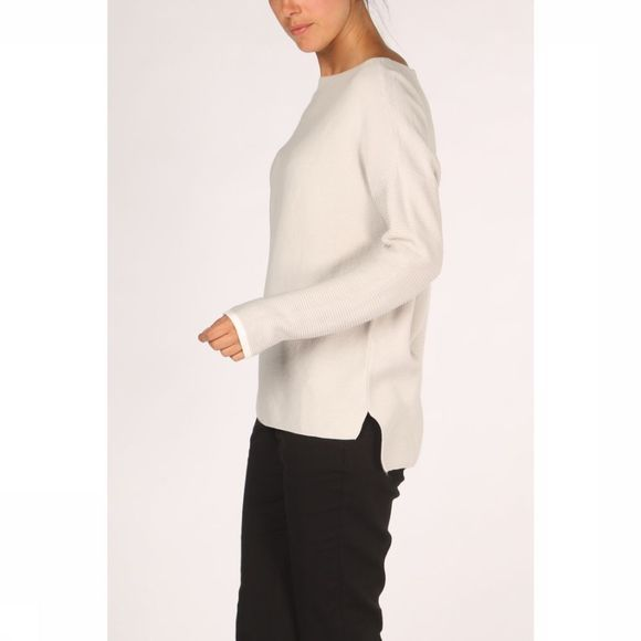 Yaya Trui Basic Cotton Boat Neck With Rib Knitted Sleeves Lichtgrijs Mengeling
