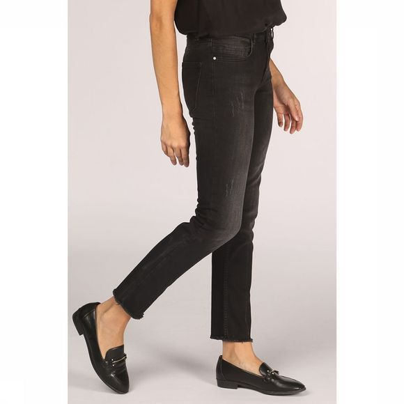 Yaya Jeans Basic Straight Denim With Raw Edges Zwart