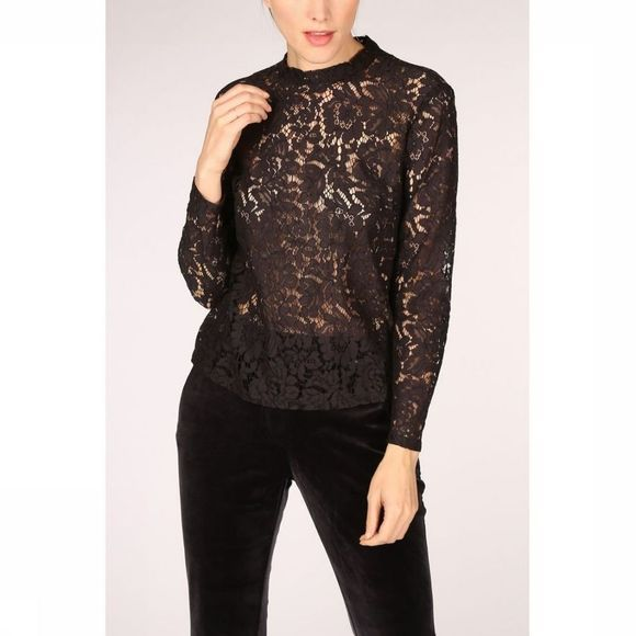 Yaya Blouse Long Sleeved Lace With Hidden Buttons At The Back Zwart