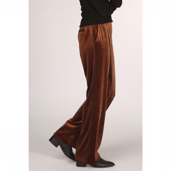 Yaya Broek Velours Relaxed Wide Leg Brons