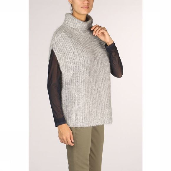 Yaya Trui Throw Over Knit Short Poncho Lichtgrijs Mengeling