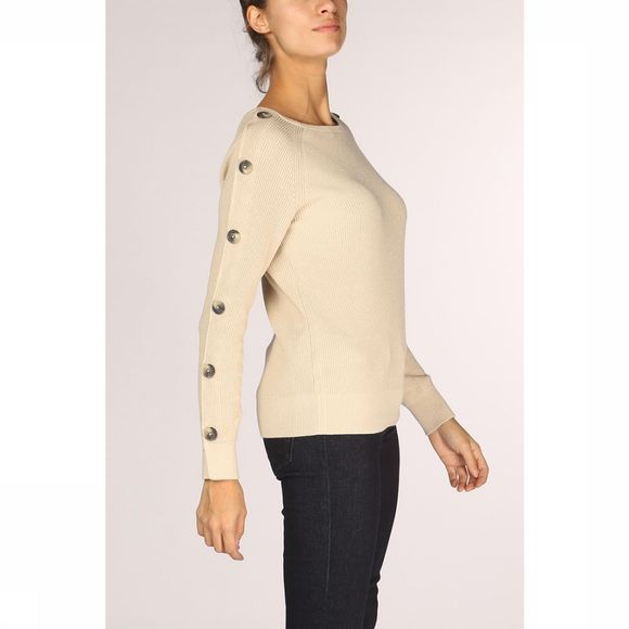 Yaya Trui Boatneck With Button Sleeves Ecru